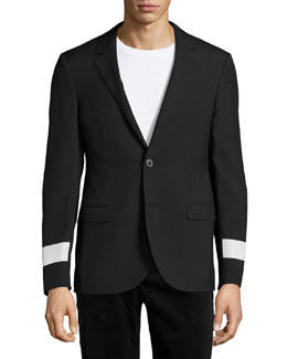 Slim-Fit Two-Button Sport Jacket with Reflective Arm Bands, Black