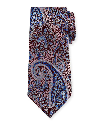 Woven Paisley Silk Tie, Pink