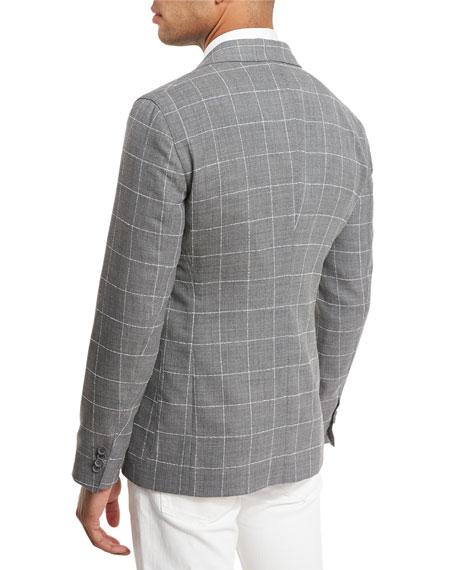Upton Windowpane Check Two-Button Blazer, Gray