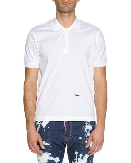 Stretch-Cotton Polo Shirt, White