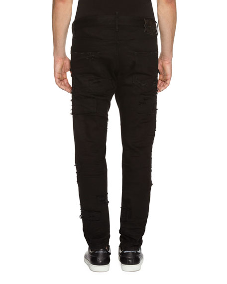 Cool Guy Slashed Denim Jeans, Black
