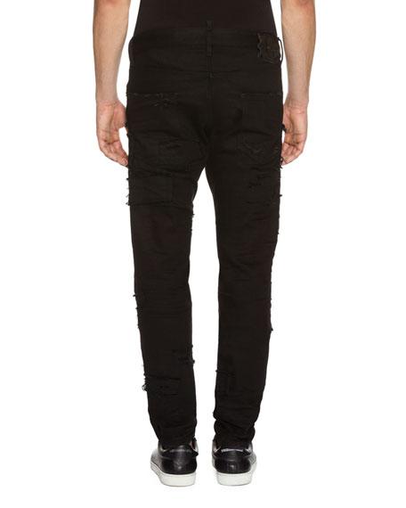 Cool Guy Slashed Denim Jeans, Black