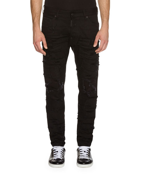 Dsquared2 Cool Guy Slashed Denim Jeans, Black
