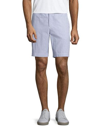 Dane 2 Striped Seersucker Shorts, Navy/White