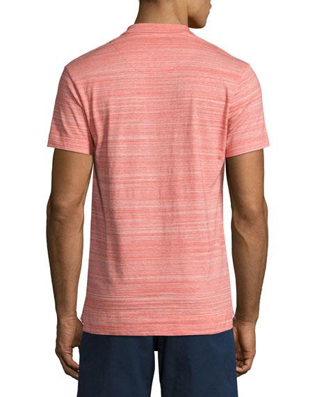 Felix Fine-Stripe Space-Dye Polo Shirt, Red