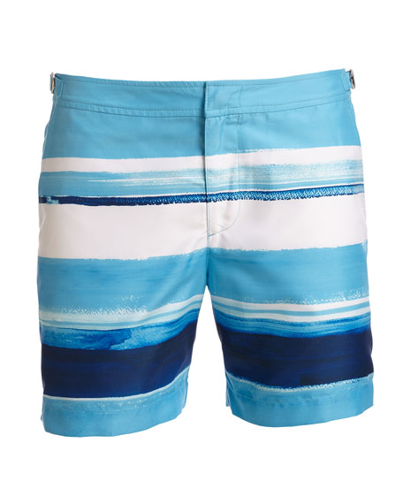 Bulldog McGovern Striped Swim Trunks, Blue