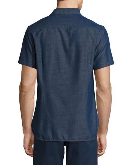 Morton Chambray Tailored Short-Sleeve Sport Shirt, Indigo