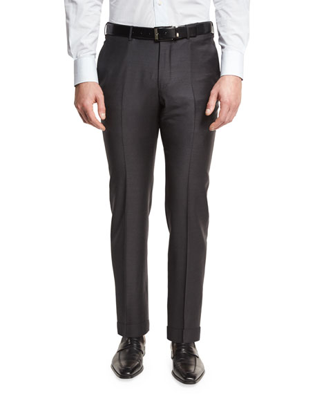 Trofeo Flat-Front Trousers, Charcoal