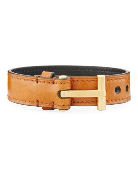 Men's Leather T-Buckle Wrap Bracelet