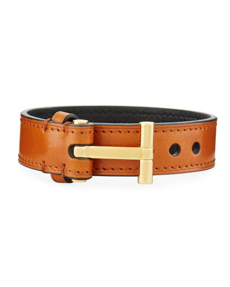 Men's Leather T-Buckle Bracelet