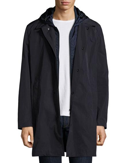 Reynaud Hooded Long-Zip Coat, Navy