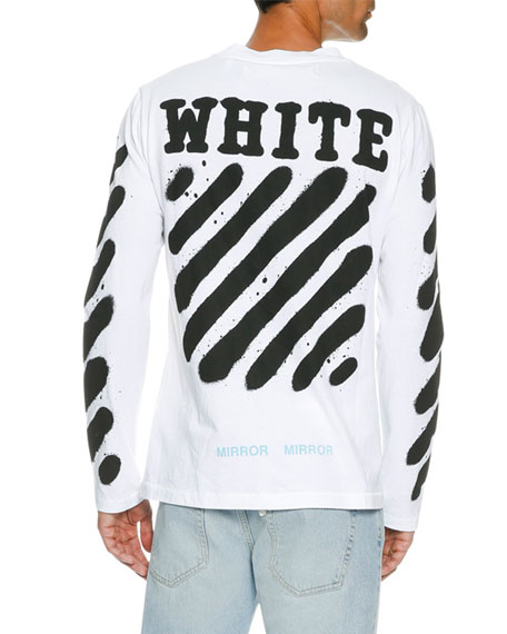 Spray-Paint Logo Long-Sleeve T-Shirt, White/Black