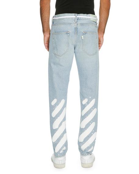 Spray-Paint Diagonal-Stripe Straight-Leg Jeans, Light Blue