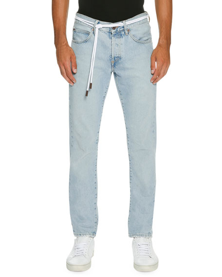 Spray-Paint Diagonal-Stripe Straight-Leg Jeans, Light Blue
