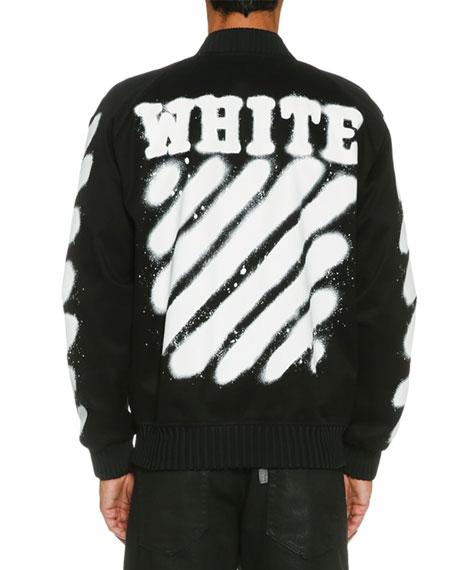 b54e343a6933 Off-White Spray-Paint Logo Varsity Jacket
