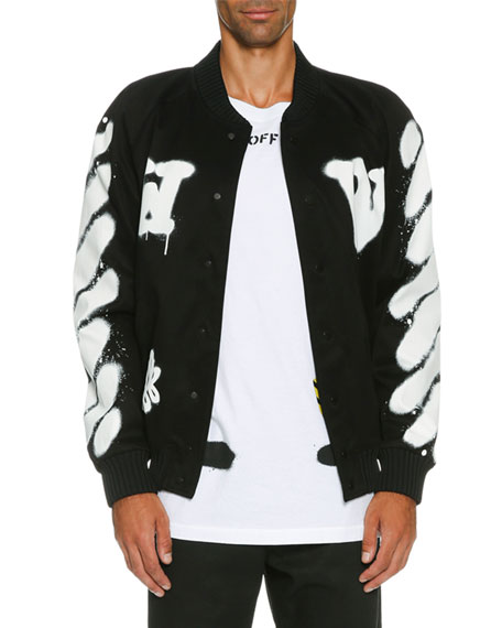 Spray-Paint Logo Varsity Jacket, Black