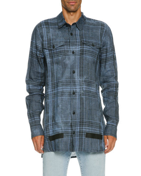 Faded Plaid Linen Button-Front Shirt, Blue