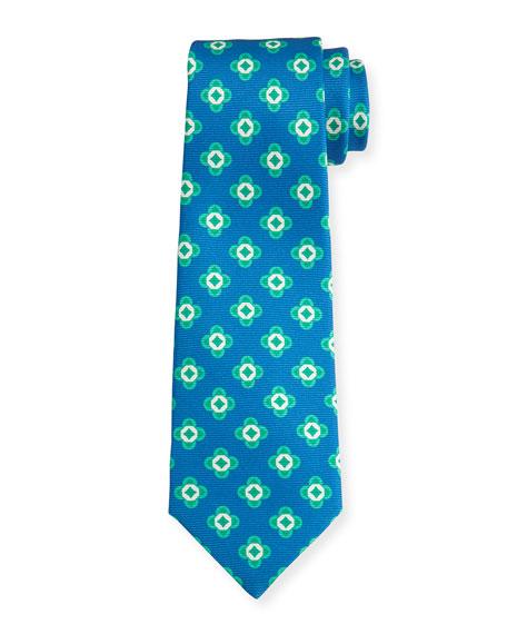 Kiton Neat Spaced Flower Silk Tie, Blue/Green
