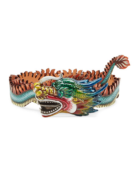 Leather Belt with Dragon Buckle, Multicolor