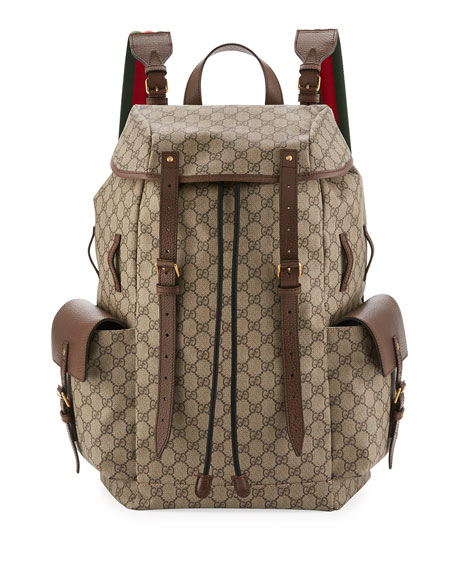 5cdf81e98f9 Gucci Soft GG Supreme Men s Backpack with Web Straps