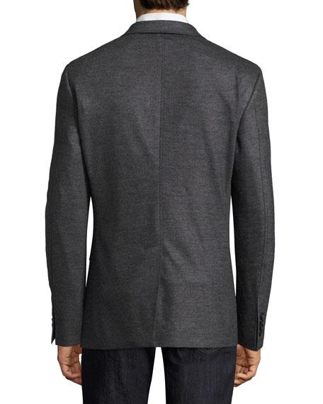 Virgin Wool Jersey Two-Button Blazer, Gray