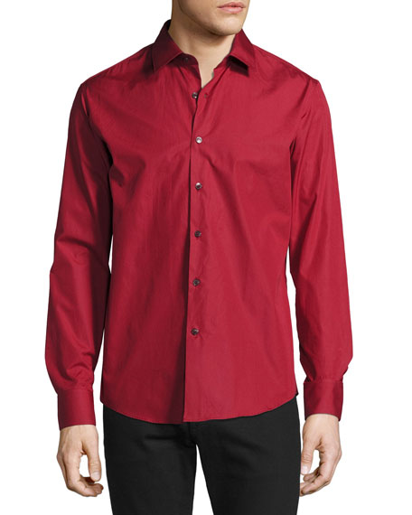 Men's Classic Cotton Sport Shirt, Red