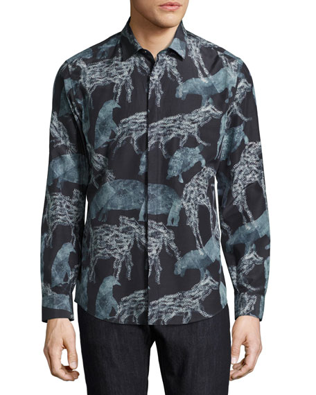 Men's Safari Animals Silk-Cotton Sport Shirt, Black