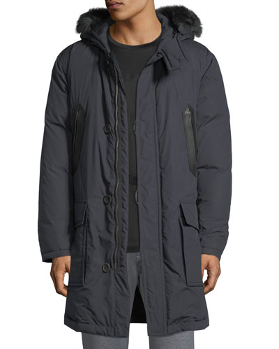 Leather-Trim Parka with Fur