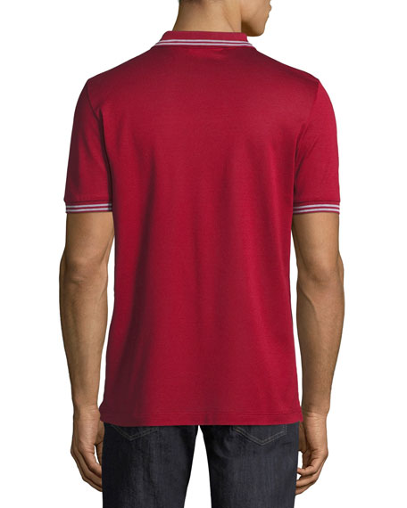 Men's Cotton Piqué 3-Button Polo Shirt with Gancini Detail on Collar, Ferragamo Red