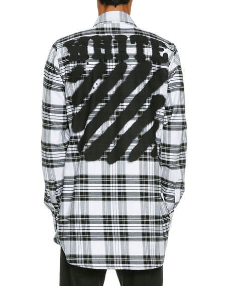 Spray-Paint Plaid Button-Front Shirt, White/Black