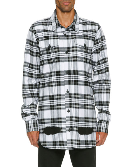 Spray-Paint Plaid Button-Front Shirt, White/Black
