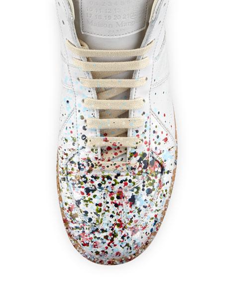 Replica Paint-Splatter Leather Mid-Top Sneaker, White