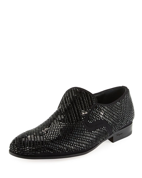 Salvatore Ferragamo Delroy 2 Crystal-Studded Formal Loafer, Black