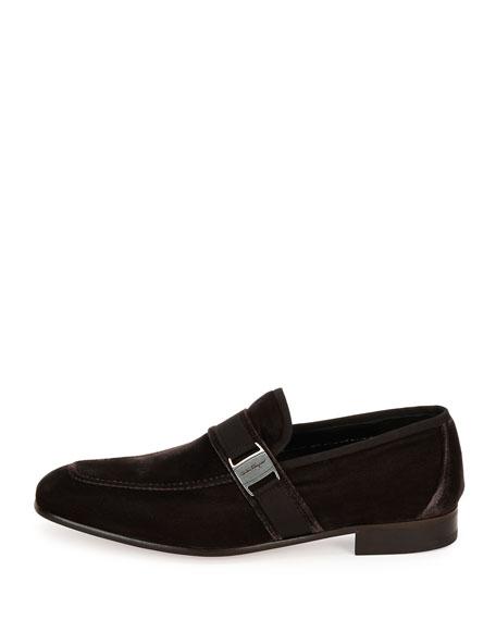 Men's Velvet Formal Loafer, Gray