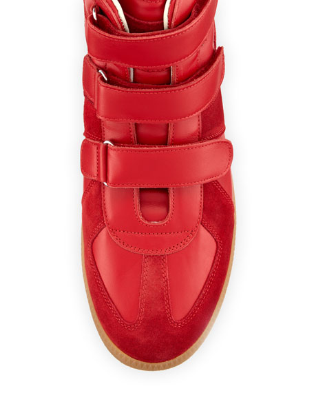 Triple-Strap Leather & Suede High-Top Sneaker, Red