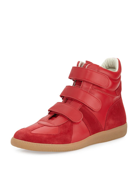 Men's Triple-Strap Leather & Suede High-Top Sneakers, Red