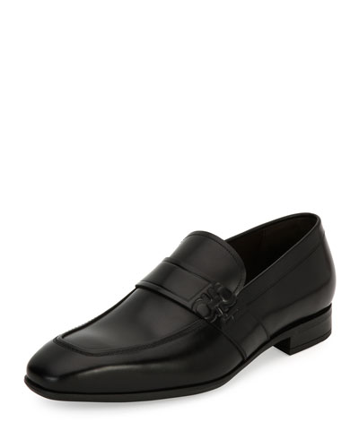 Gancini-Embossed Leather Loafer, Black (Nero)