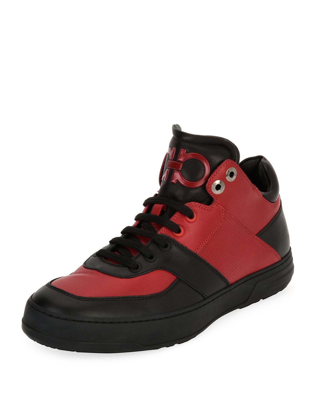 new product 43f96 6a0b4 Salvatore Ferragamo Men's Leather Mid-Top Sneakers, Black/Red (Nero/Rosso)