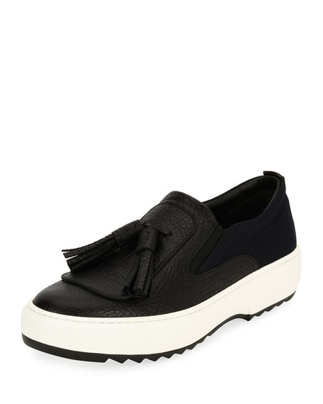 Leather Sneaker with Oversized Tassels on Archival Sawtooth Sole, Black (Nero)