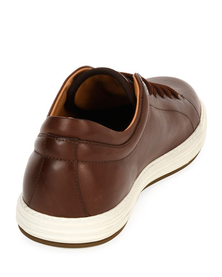 Men's Leather Low-Top Sneaker, Brown (Mogano)