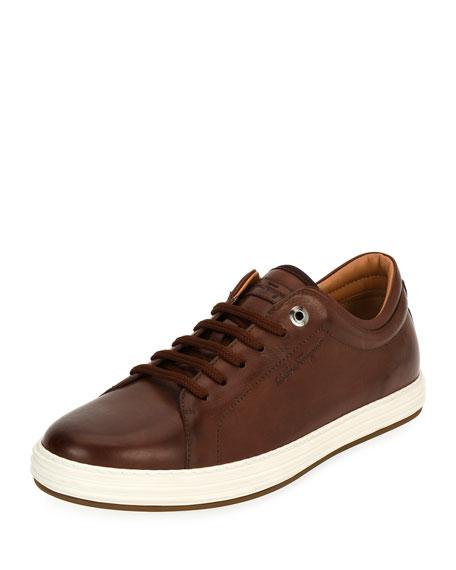 Leather Low-Top Sneaker, Brown (Mogano)