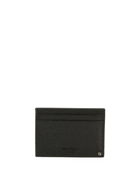 Revival Leather Card Case with Flip-Out ID Window, Black