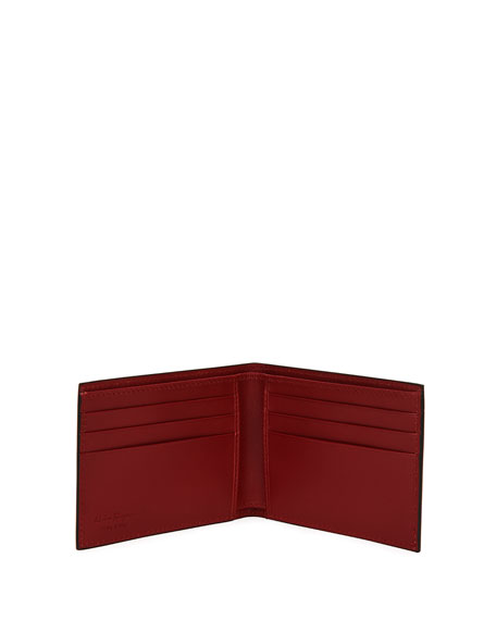 Capsule Gancio-Stamped Leather Bi-Fold Wallet, Black/Gray