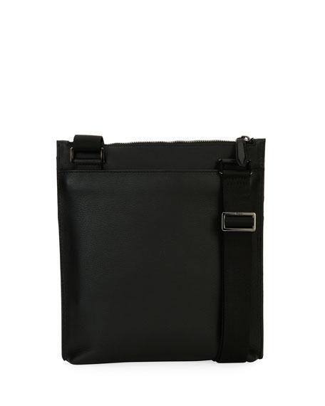 Gancio Nylon & Leather Formal Crossbody Bag, Black