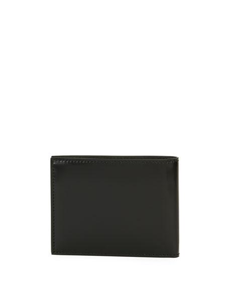 Spazzolato Gancini Bi-Fold Wallet, Black