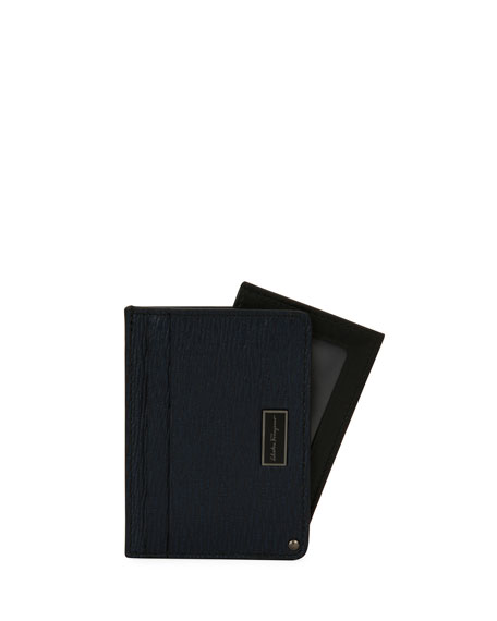 Men's Revival Leather Card Case with Flip-Out ID Window, Blue