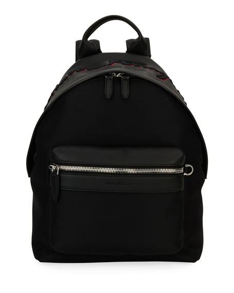 Ferragamo-Embroidered Backpack, Black/Red