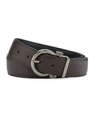 Parigi Reversible Leather Gancio-Buckle Belt, Brown/Black