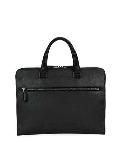 Revival Slim Leather Briefcase, Gray