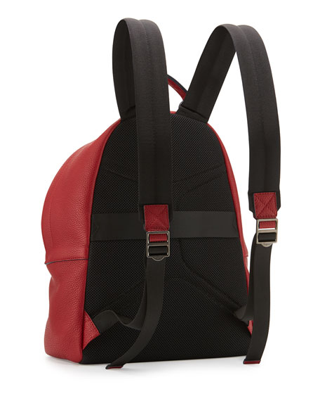 Men's Firenze Men's Grained Leather Backpack, Red